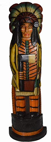 WorldBazzar Cigar Indian Huge Hand Crafted Wooden Sculpture I1 Cowboys Horseshoes Shotgun Old west Hunting