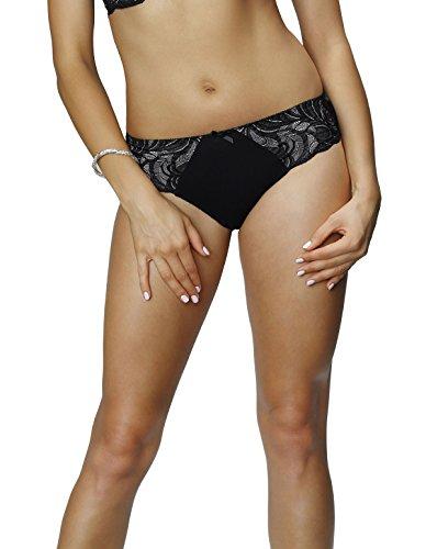 Nessa P1 Women's Vanilla II Black Solid Colour Embroidered Knickers Panty Full Brief