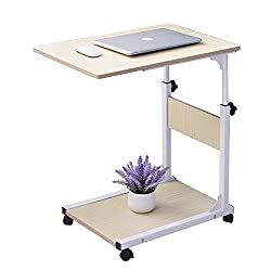 Sogespower Adjustable Laptop Table, Movable Computer Stand, Portable Desk Cart Tray Mobile Side Table,white Maple