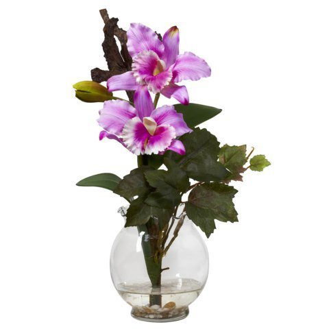 Lavender Mini Cattleya w/Fluted Vase Silk Flower (Mini Cattleya Orchid)