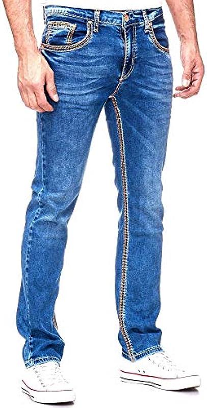 Rusty Neal Męskie dżinsy spodnie Regular Fit Blue Used niebieskie Stretch gruby szew czas wolny J100: Odzież