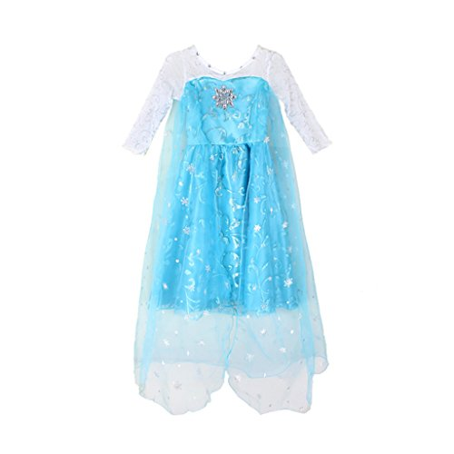[EITC Girls Princess Dress Flashy Sequins Cape Toddler Queen Costume 3-11Y 3T Blue] (Tutu Costume Ideas For Toddlers)