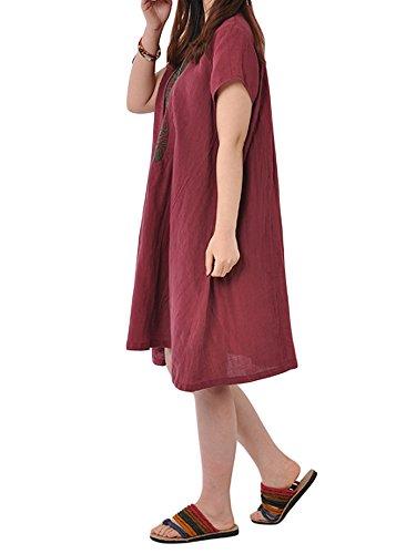 Line Linen Loose Women Embroidery Vintage Dress A Red BXRRwqA