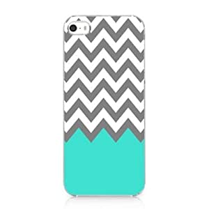 Chevron Pattern Turquoise Grey White Snap on Case Cover for Iphone 5 5s 2013 NEW