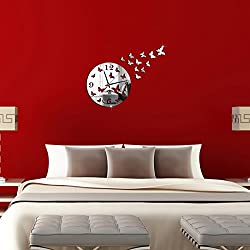 OTTATAT Wall Stickers Flowers 2019,Butterfly 3D DIY Mirror Living Room Home Modern Design Decoration Wall Clock Easy to Stick Independence Day Couple Suite Gift for Girlfriends Free Post