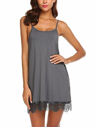 Avidlove Women's Sexy Sleep Chemise Lace Modal Slip Sleepwear Nightgown(Dark -