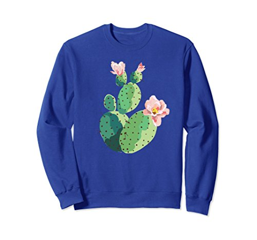 Unisex Beautiful Cactus Tree Pink Flowers Hand Drawn Painting Shirt 2XL Royal - Trees Flowers Pink