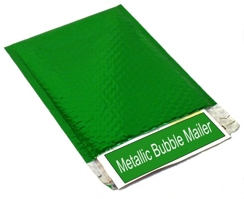 Metallic Glamour Bubble Mailers Padded Shipping Mailing Envelopes Bags Green - 13.75'' x 11'' 100 / Case by PackagingSuppliesByMail
