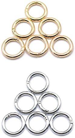 12個の金の銀のラウンドスナップフックスプリングリングキーカラビナキャンプスナップ