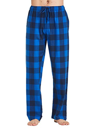 SENDI Men's 100% Cotton Woven Flannel Pajamas Pants, Classical Sleepwear Blue Large