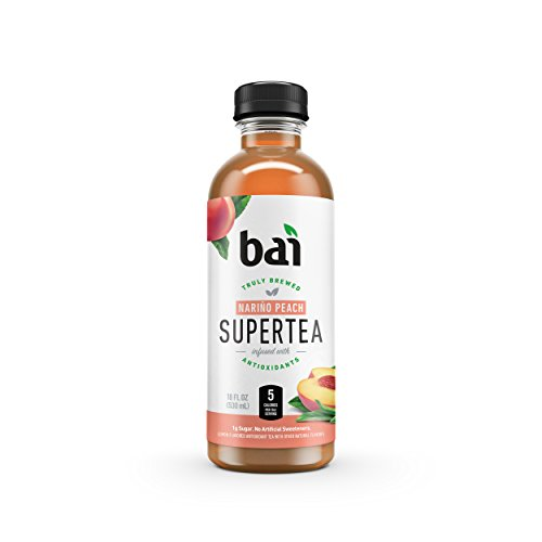 Bai Iced Tea, Narino Peach, Antioxidant Infused Supertea, Crafted with Real Tea (Black Tea, White Tea), 18 Fluid Ounce Bottles, 12 (Sweet Peach Tea)