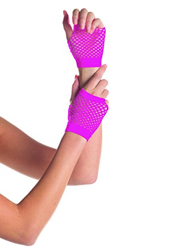 Be Wicked Women's Wrist Length Fingerless Fishnet Gloves, Hot Pink, One Size (Wrist Length Fingerless Gloves)