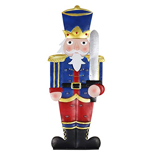 - Exhart Nutcracker Statue – Toy Soldier Marquee Statue with Automatic LED Timer – Lights Up Hand Painted Indoor Outdoor Statue & Christmas Lights for Garden & Holiday Decor (10 L x 9.5 W x 30.5 H)
