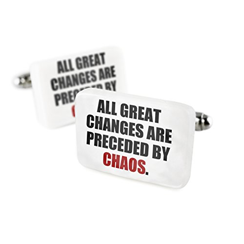 Cufflinks Change, Chaos. quotes Porcelain Ceramic (Chaos Cufflinks)
