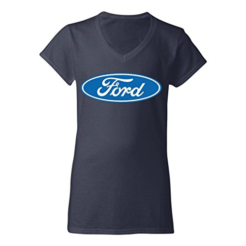 Ford Oval Logo Ladies V-Neck T-Shirt Womens Tee Navy Blue, XX-Large ()