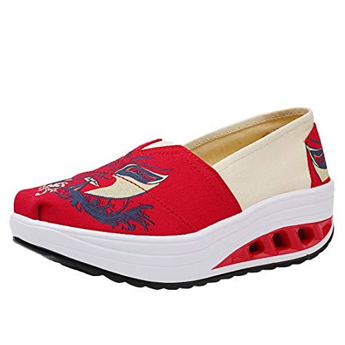 Zapatillas Impreso Deporte Mujer Cómodos Cuña Running Casual Sneaker Zapatos Lona 3impreso Wedge Plataforma LINNUO de Mocasines de zxtR00