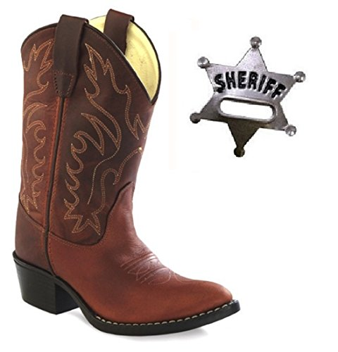 Kid's Old West Oiled Rust Leather Cowboy Boots w/Toy Sheriff's Badge (12) (Old West Outfit)