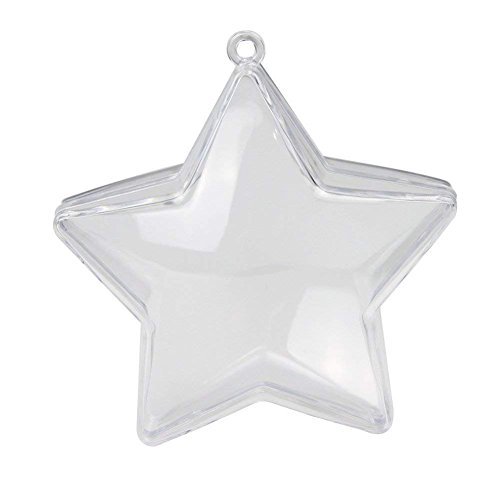 (10 Pieces of Transparent Plastic Filled Star Ball Ornaments Christmas Birthday Wedding Party Decorations (80mm) (Star))