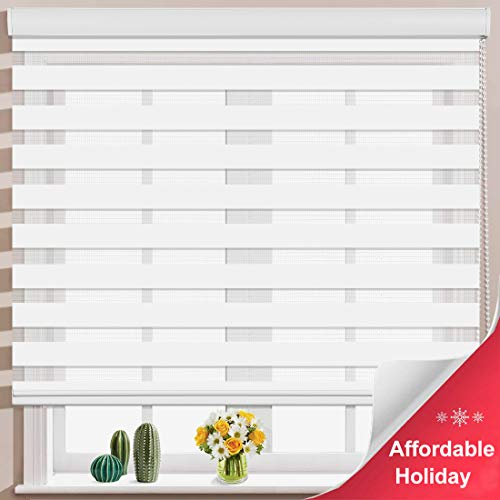 Keego Window Blinds Custom Cut to Size, White Zebra Blinds with Dual Layer Roller Shades, [Size W 38 x H 72] Dual Layer Sheer or Privacy Light Control for Day and Night