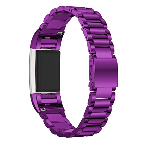 Pumsun Stainless Steel Metal Business Replacement Bracelet Strap for Fitbit Charge 2 (Purple) by Pumsun