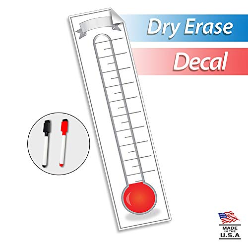 Fundraising Thermometer Goal Setting Chart - Dry Erase Reusable Fundraiser Tracker for Goals Adhesive Decal - 48