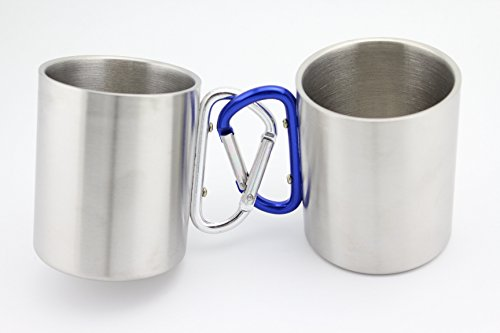 Finex - Set of 2 - Stainless Steel Portable Travel Water Tea Coffee Mug with D-Ring Carabiner Hook as Handle for Outdoor Sports Camping Hiking Climbing Home Office Adults & (Stainless Steel Carabiner Mug)