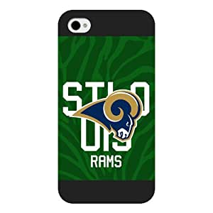 Onelee Customized NFL Series Case for iPhone 4 4S, NFL Team St Louis Rams Logo iPhone 4 4S Case, Only Fit for Apple iPhone 4 4S (Black Frosted Shell)
