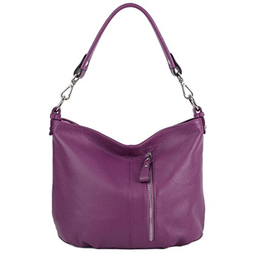 YALUXE Women's Front Pocket Soft Cowhide Leather Small Mini Purse Hobo Style Shoulder Bag Purple Leather Small Hobo Bag