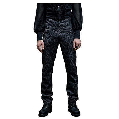 Devil Fashion Men Black Victorian Gothic Vintage Pants Trousers for Party Wedding(Pants,M)