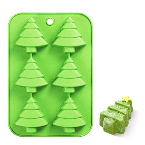 Efivs Arts 6 Christmas Tree Silicone Cake Baking Mold Cake Pan Handmade Soap Moulds Biscuit Chocolate Ice Cube Tray DIY Mold -