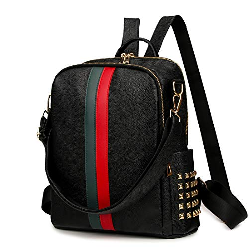 Small Backpack Purse Alovhad Cute Daypack Leather Women Fashion iPad Backpack Bag . (Big Black )