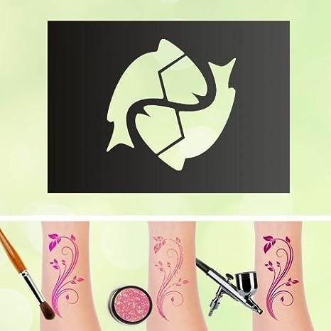 Tattoo Plantillas signo del zodiaco Piscis auto-adhesivos kinders ...