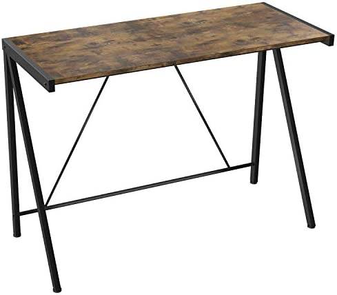 IRONCK Industrial Computer Desk for Small Spaces, Small Computer Desk Study Table for Home Office, Iron Frame Easy Assembly Stable and Space-Saving Vintage Brown