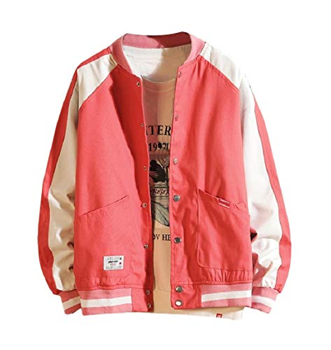 Stand Jacket Coat Casual Loose Contrast MogogoMen Red Up Fit Collar Stitch R4wPdRqcfO