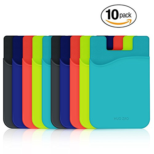 Credit Card Holder, HUO ZAO Silicone Phone Card Id Cash Wallet with 3M Adhesive Stick-on fits Apple iPhone Samsung Galaxy Android Most Smartphones, Table, Refrigerator, Door - Multi Colors - 10 Pack