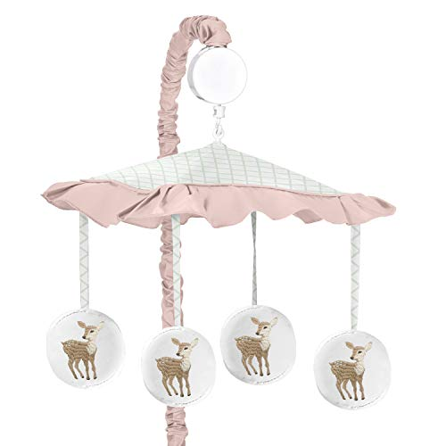 Sweet Jojo Designs Blush Pink, Mint Green and White Boho Musical Baby Crib Mobile for Woodland Deer Floral Collection ()