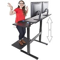 Tranzendesk Dual Level Standing Desk - 47 inch Long – Easily Crank desk from Sitting to Standing (Black Top / Black Frame)
