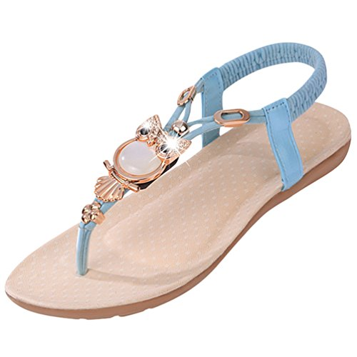 Sentao Cuentas Verano Playa Embellecimiento Azul Bohemio Estilo Mujer Sandalias Zapatos Sandalias BqBrgO