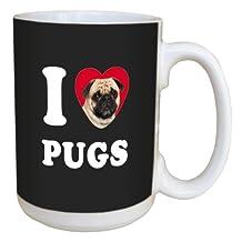 Tree-Free Greetings LM45105 I Heart Pugs Ceramic Mug with Full-Sized Handle, 15-Ounce, Tan and Black