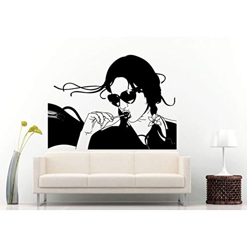 ponana Fashion Style Female with Lolly Pop in Her Mouth Wall Mural Vinyl Wallpaper Girl with Sun Glasses Home Decor 57X79Cm