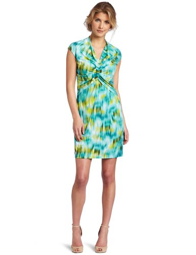 Kenneth Cole New York Women's Petite  Watercolor Ikat Printed Dress