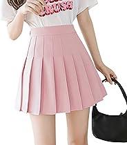 Jurebecia Women's Flared Pleated Sport Golf Skort High Waisted Mini Skate Tennis School Uniform Skirt Vers