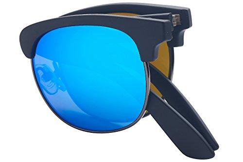 c5f04760f0 Foldies Black Folding Browline Sunglasses with Polarized Blue Mirror Lenses