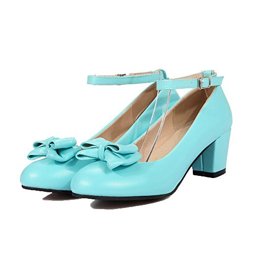 Kitten Round Shoes Heels Buckle Blue Pumps WeenFashion Women's Solid Toe PU Cqpf7f