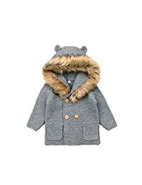 Baby Sweater Cute Bear Ear Fashion Knit Baby Clothes Fur Collar Baby Long Sleeve Hooded Sweater Cardigan Sweater