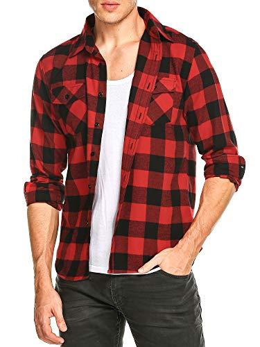 DAIKEN Men's Big Tall Long Sleeve Slim-fit Button Down Plaid Fleece Shirt Flannel ()