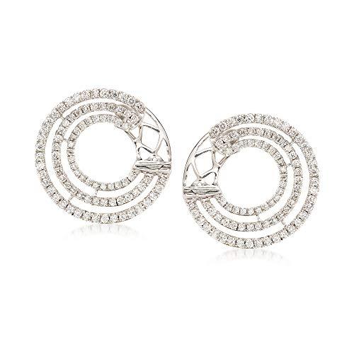 Ross-Simons 0.96 ct. t.w. Diamond Multi-Circle Hoop Earrings in 18kt White -