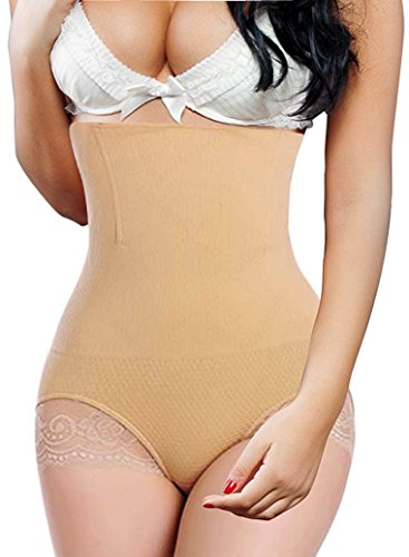 Hi-Waist Tummy Cincher Body Shaper Butt Lifter Shapewear Panty Girdle Beige (M/L, Beige)