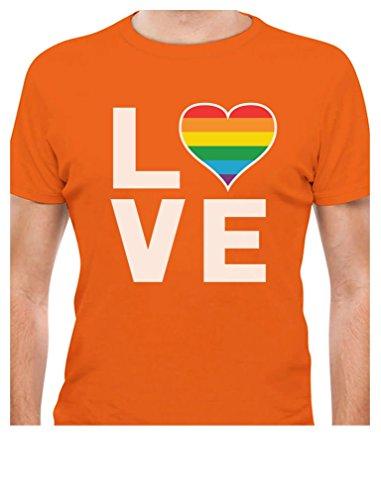 Gay Love - Rainbow Heart Gay Pride Awareness T-Shirt Small Orange