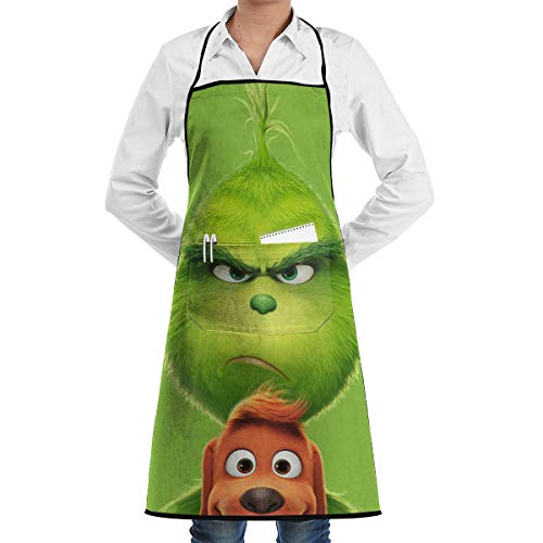 Home Bib Kitchen Aquaculture Art Apron The Grinch Stole Christmas for Restaurant Cooking BBQ Aprons Woodwork Painter Artist Painters School Students, Utility Or Work Apron